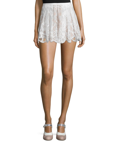 Alexis Kass Pleated High-Rise Lace Shorts, White