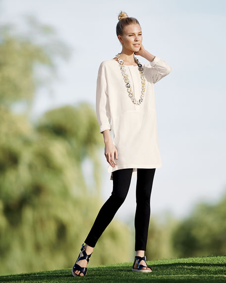Long-Sleeve High-Low Silk Tunic, Petite