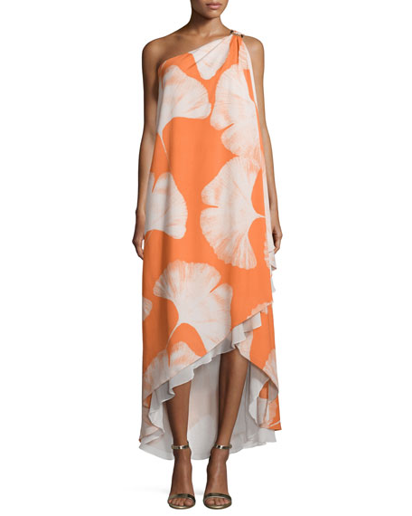 Halston Heritage One-Shoulder Printed Gown, Terracotta