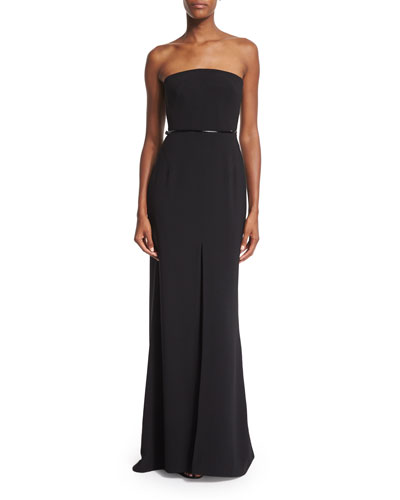 Strapless Belted Column Gown, Black