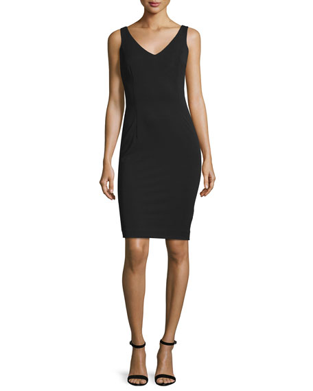 Escada Sleeveless V-Neck Sheath Dress, Black