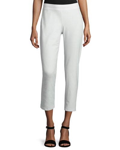 Washable Stretch-Crepe Ankle Pants, Bone