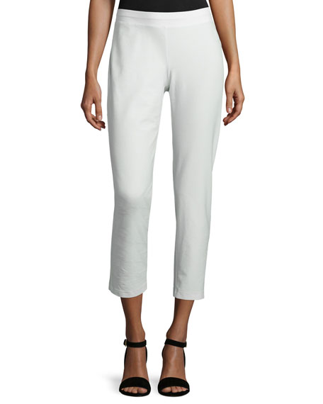 Eileen Fisher Washable Stretch-Crepe Ankle Pants, Bone, Plus