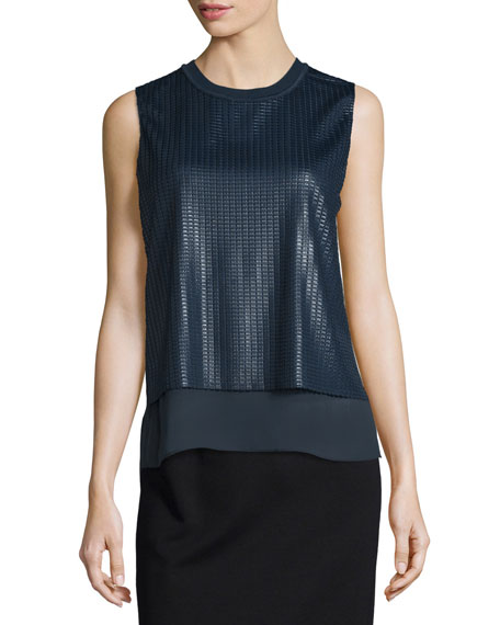 Vince Sleeveless Textured-Mesh Double-Layer Blouse