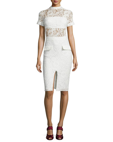 Alexis Asia Short-Sleeve Lace Sheath Dress, White