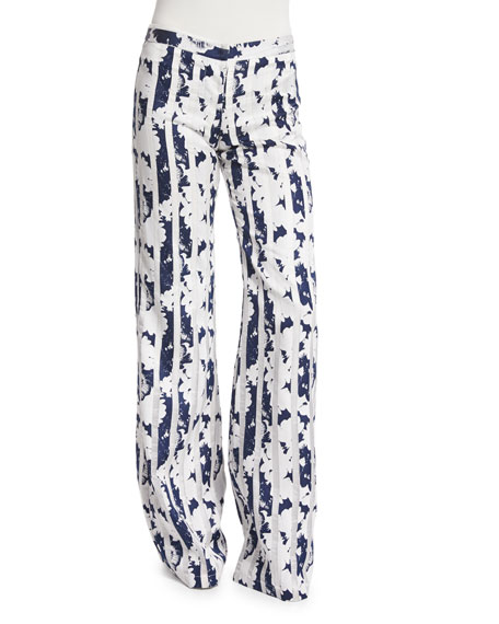 Alexis Beau Blossom Wide-Leg Pants, Navy/White