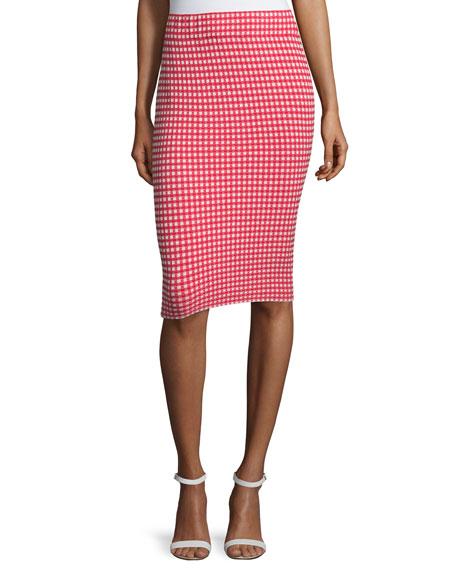 Jonathan Simkhai Gingham Stretch Pencil Skirt, Red/White