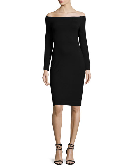 Daphne Long-Sleeve Off-the-Shoulder Dress, Black