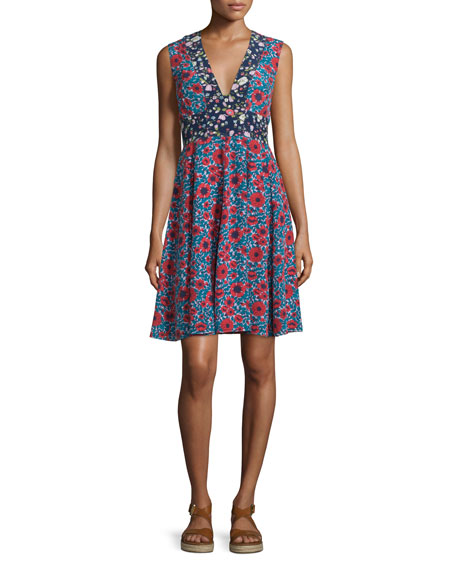 Rebecca Taylor Lindsay Sleeveless Floral Silk Dress
