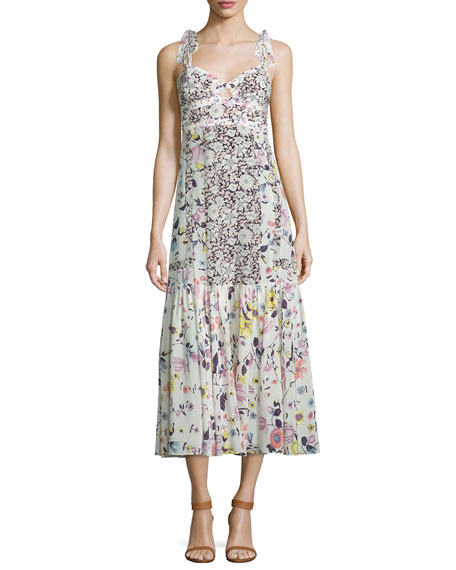 Rebecca Taylor Sleeveless Floral Silk Midi Dress, Cream