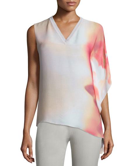 Elie Tahari Adair One-Sleeve V-Neck Blouse, Pink Shell