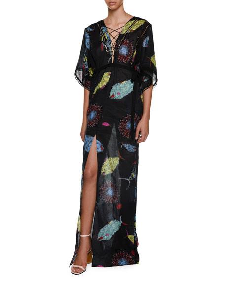 Emilio Pucci Half-Sleeve Fish-Print Lace-Up Swim Caftan Coverup,