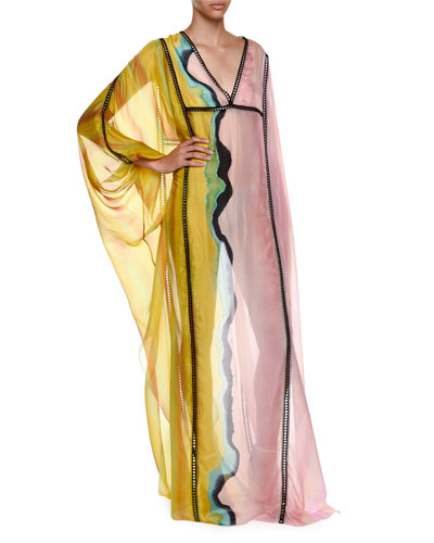 Long-Sleeve Colorblock Swim Caftan Coverup, Peonia/Muscho