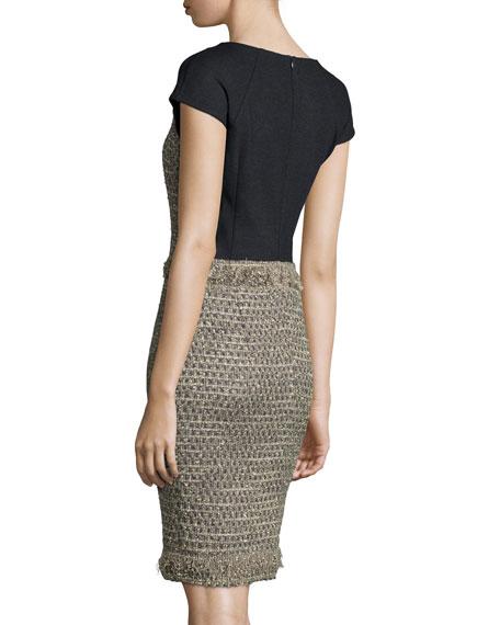 Cap-Sleeve Fringe-Trim Dress, Anthracite