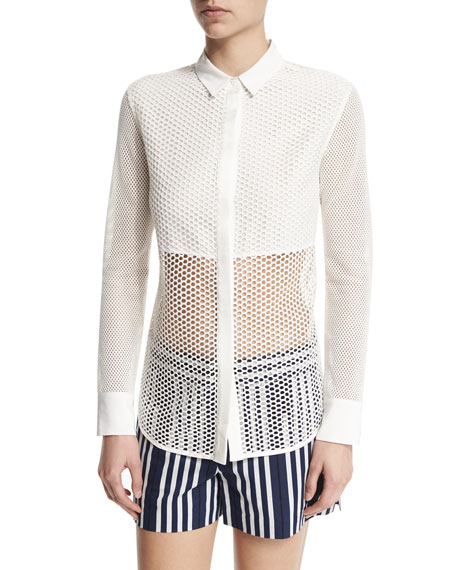 Rag & Bone Luna Long-Sleeve Mesh Top, White