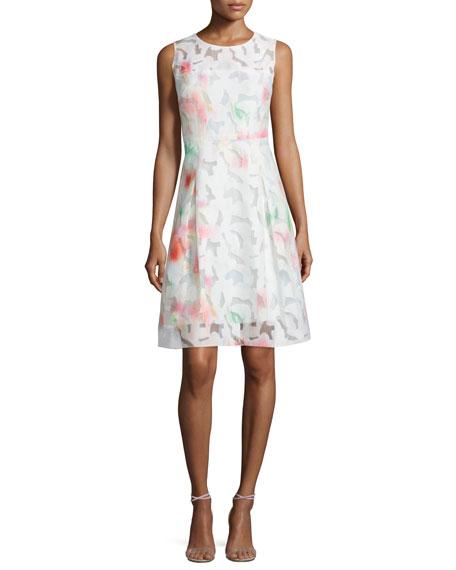 Elie Tahari Dorinda Sleeveless Round-Neck Dress. Flash