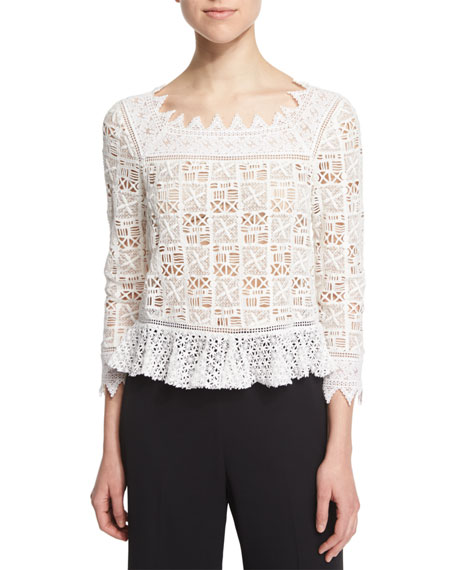 Rebecca Taylor 3/4-Sleeve Cotton Crochet-Lace Top, Off White