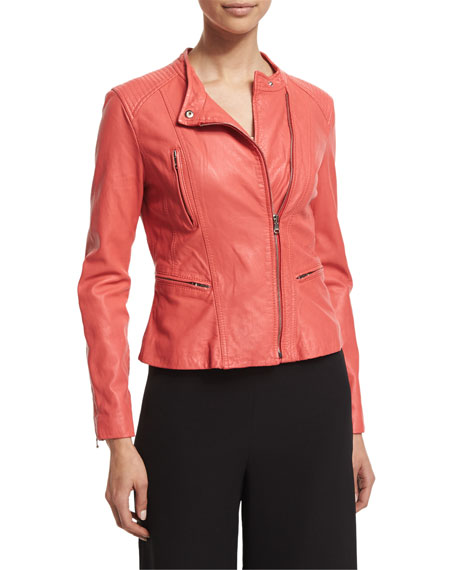 Rebecca Taylor Leather Motorcycle Jacket, Melon Pop