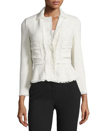 Metallic Tweed Peplum Jacket, Cream