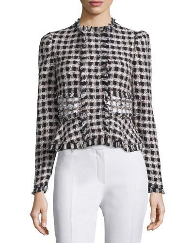 Plaid Tweed Jacket, Black/Cream