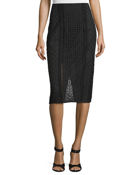 Rebecca Taylor Lace Crochet Pencil Skirt, Black