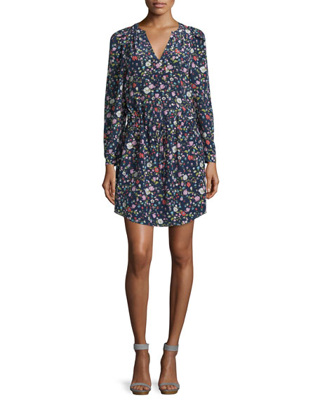 Rebecca Taylor Long-Sleeve Floral Silk Drawstring Dress, Blackberry