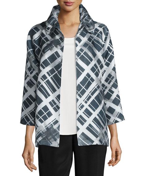 Caroline Rose24/7 3/4-Sleeve Mid-Length Plaid-Print Jacket, Petite