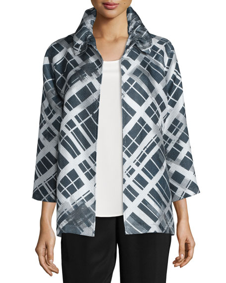 Caroline Rose 24/7 3/4-Sleeve Mid-Length Plaid-Print Jacket