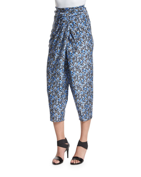 Elie Tahari Jodi Tapered Cropped Silk Pants, Stargazer