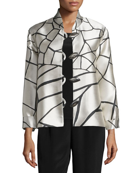 Caroline Rose Crackle Up Boxy Short Jacket, Champagne/Black