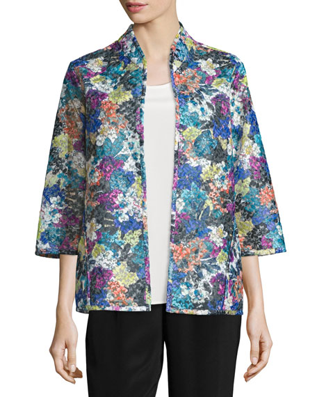 Embroidered Easy-Fit Organza Jacket, Plus Size