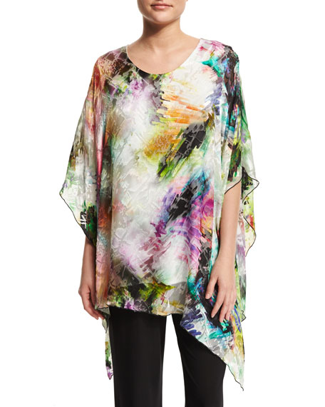 Caroline Rose Light Show Angled Devore Caftan Top,
