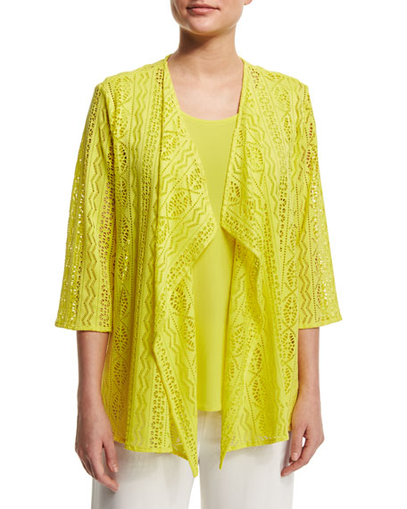 Caroline Rose Siesta Mesh Mid-Length Cardigan, Yellow, Plus