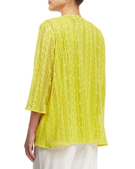 Siesta Mesh Mid-Length Cardigan, Yellow