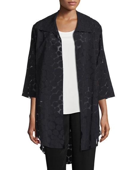 Caroline Rose Sheer Dot Long Shirt Jacket, Black