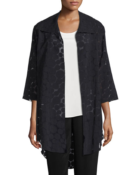 Caroline RoseSheer Dot Long Shirt Jacket, Black