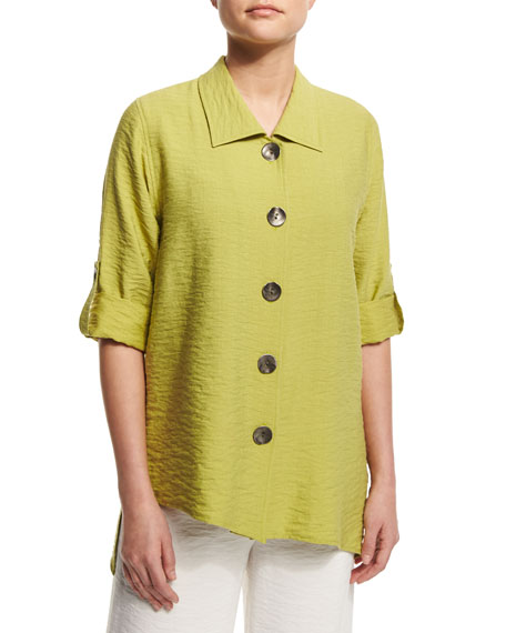 Caroline Rose Cabo Crinkled Mid-Length Shirt, Kiwi