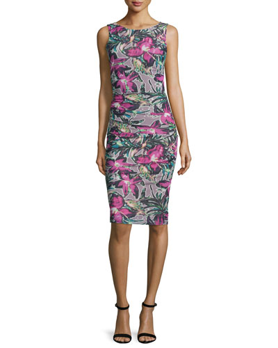 Sleeveless Floral-Print Side-Tucked Sheath Dress