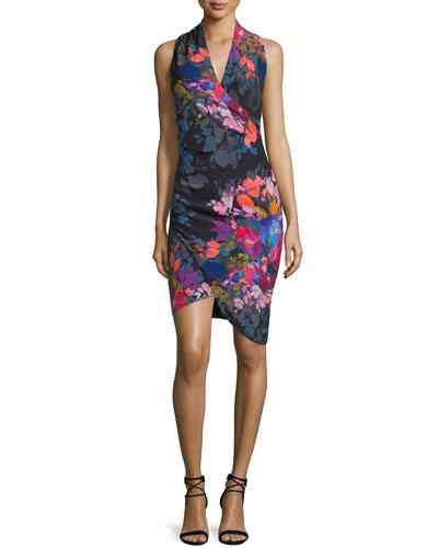 Sleeveless Floral-Print Faux-Wrap Dress