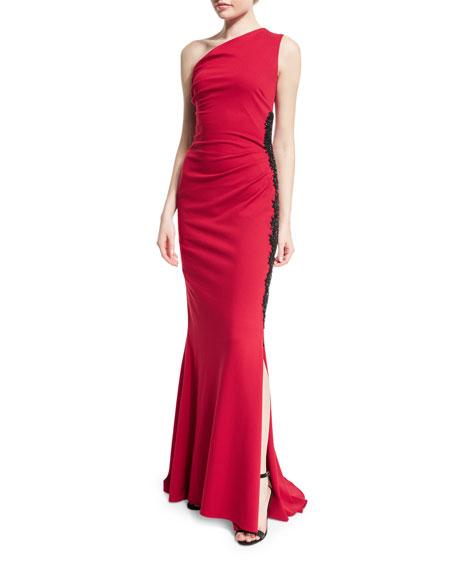 Escada One-Shoulder Embellished Dress, Ruby