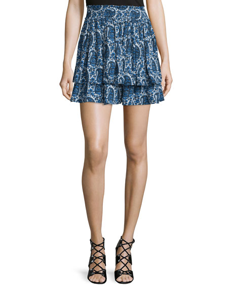 Tiered Silk Paisley Mini Skirt, Blue