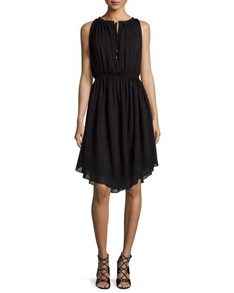 Derek Lam 10 CrosbySleeveless Shirred Chiffon Dress, Black