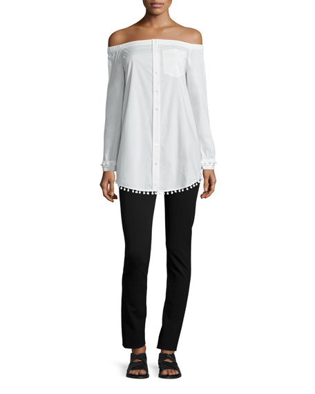 Derek Lam 10 Crosby Long-Sleeve Poplin Off-the-Shoulder Shirtdress, Soft White