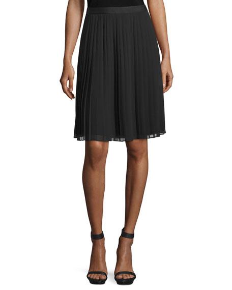 Rebecca Taylor Georgia Pleated Chiffon Skirt, Black