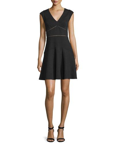 Taylor Waffle-Knit Circle Dress, Black