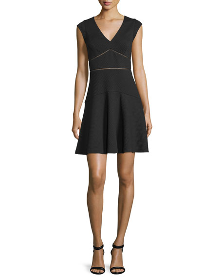 Rebecca Taylor Taylor Waffle-Knit Circle Dress, Black