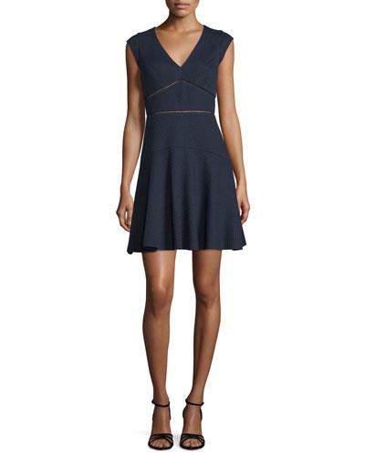 Taylor Waffle-Knit Circle Dress, Navy