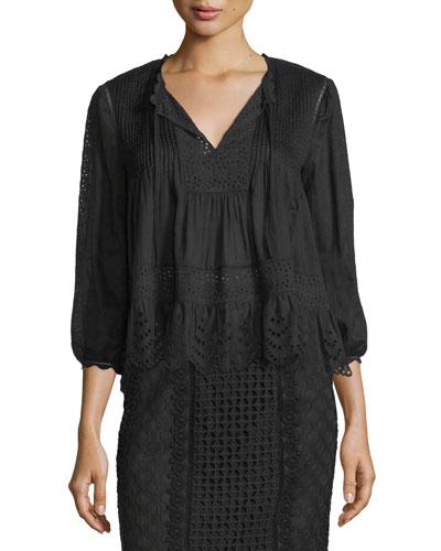 3/4-Sleeve Cotton Voile Lace-Trim Top, Black