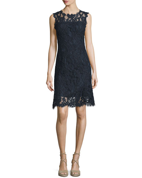 Elie Tahari Harlow Sleeveless Lace Dress, Starg/Navy