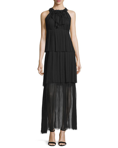 Alicia Sleeveless Tiered Maxi Dress, Black